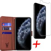 iPhone 11 Pro Max Hoesje + Screenprotector Case Friendly - Book Case Portemonnee - iCall - Bruin