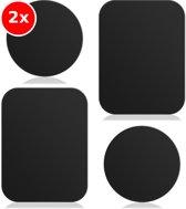 2x Universeel zelfklevende metalen platen - Voor mobiele telefoons in de auto - 2x Set van 4 - Iphone, Samsung etc.