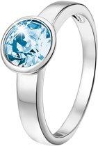 Lucardi Zilveren Ring - Met Swarovski Kristal - Aqua - Maat 58