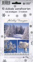 20 Kerstkaarten - Folie - Witte envelop -10,5 x 16 cm