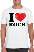 I love rock t-shirt wit heren 2XL