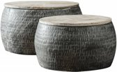 Duverger Trommel - Salontafels - set van 2 - rond  -staal - gepatineerd massief mango blad - Ø 50cm en 60cm