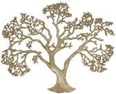 Wanddecoratie Levensboom - Tree of Life - 59 x 73 x 2 cm - Ruw Nikkel - Zilver