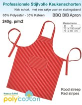 Homéé - Keukenschorten BBQ Apron rood gestreept 240g. p/m2   Set van 2 stuks   70x100cm