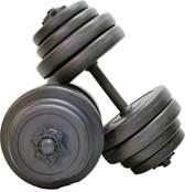 Verstelbare Dumbbellset Focus Fitness - Totaal: 30 kg - 2 stuks van 15 kg