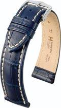 Hirsch Modena Horlogeband Donkerblauw 22mm