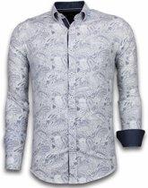 Gentile Bellini Italiaanse Overhemden - Slim Fit Overhemd - Blouse Allover Flower Pattern - Blauw - Maten: XXL