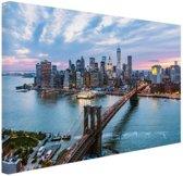 Luchtfoto Brooklyn Bridge NY Canvas 120x80 cm - Foto print op Canvas schilderij (Wanddecoratie woonkamer / slaapkamer) / Steden Canvas Schilderijen