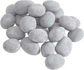 24 delige stuks - keramiek - keramische -  stenen - Grijs - gashaard - sfeerhaard