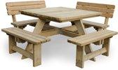 MaximaVida vierkante picknicktafel Talinn 120 cm met 2 rugleuningen