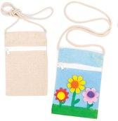 Stoffen schoudertasjes  (5 stuks per verpakking)