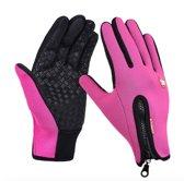size M  - Waterproof Handschoenen met Touchscreen vingers - Large Warme handschoenen met comfortabele voering - Roze - Motor / Fiets / Buitensport - Unisex - Waterproof en windproof - Extra grip - Geschikt voor smartphone gebruik