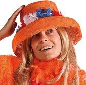 Organza oranje hoed met rood-wit-blauwe krans