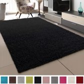 Vloerkleed Zwart Effen Hoogpolig Tapijt Loca - 80x150 cm