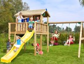 Jungle Gym – Playhouse XL 2-Swing - Speelhuis Schommel - Met Glijbaan - Geel