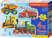 Vehicles puzzel 4-in-1