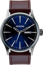 Nixon A1051524 Sentry Leather blue / brown - Horloge - 42mm - Blauw