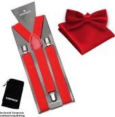 Bretels inclusief vlinderdas en pochette - Rood - Sorprese - met stevige clip - bretels - vlinderdas – strik – strikje – pochet - luxe - unisex - heren - giftset