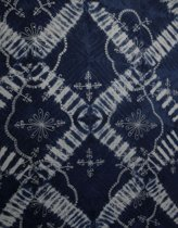 Luxe sarong hamamdoek met pailletten 165 cm bij 115 cm uit Bali versierd met franjes, kleuren blauw-wit