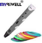 MyRiwell RP100A 3D Pen - 100m filament - Drawing pad - Grijs