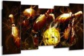 Canvas schilderij Spel | Bruin, Geel, Zwart | 150x80cm 5Luik
