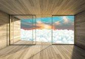 Fotobehang Window Sky Sunset Clouds Sun | XXL - 312cm x 219cm | 130g/m2 Vlies