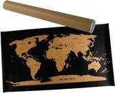 Scratch Map Wereldkaart Kras World Map Deluxe - Wereld Kraskaart - Scratchmap Zwart/Goud
