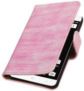 OnePlus X Hoesje Hagedis Bookstyle Roze