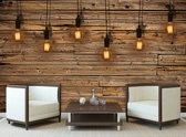 Light Bulbs Wood Plankets Photo Wallcovering