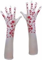 Bebloede witte handschoenen voor dames