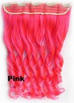Clip in hair extensions 1 baan wavy roze - Pink