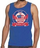 Blauw USA drinking team tanktop / mouwloos shirt / tanktop / mouwloos shirt blauw heren -  Amerika kleding M