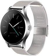 Luxe iOS & Android Zilverkleurig Smartwatch Smarthorloge met zilverkleurige stalen Milanees bandje