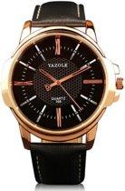 Yazole - Chique heren horloge - Zwart - Rosegoud kleurig - 46 mm - I-deLuxe verpakking