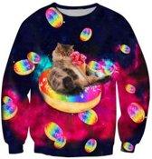 Kat op regenboog donuts - XXL
