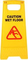 Waarschuwingsbord gladde of natte vloer - 'Caution wet floor' - tweezijdig