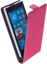 LELYCASE Lederen Flip Case Cover Hoesje Nokia Lumia 720 Roze