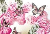 Fotobehang Butterflies Flowers | XL - 208cm x 146cm | 130g/m2 Vlies