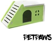 Petpaws - Houten huisje voor kleine knaagdieren - Groen