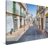 Kleurrijk straatbeeld van Cordoba in Spanje Canvas 120x80 cm - Foto print op Canvas schilderij (Wanddecoratie woonkamer / slaapkamer) / Europese steden Canvas Schilderijen