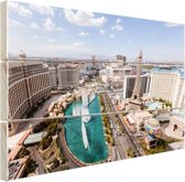 Stadsbeeld Las Vegas overdag Hout 160x120 cm - Foto print op Hout (Wanddecoratie) XXL / Groot formaat!