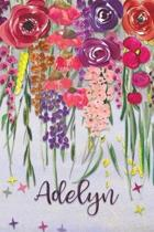 Adelyn: Personalized Lined Journal - Colorful Floral Waterfall (Customized Name Gifts)