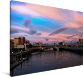 Zonsondergang boven het Europese Glasgow Canvas 140x90 cm - Foto print op Canvas schilderij (Wanddecoratie woonkamer / slaapkamer) / Europese steden Canvas Schilderijen
