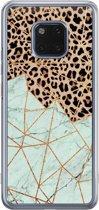Huawei Mate 20 Pro siliconen hoesje - Luipaard marmer mint
