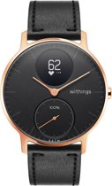 Nokia/Withings Steel HR Rosegold - Hybride Smartwatch - Leren bandje zwart - Ø 36mm