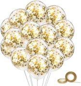 25x Helium Latex Confetti Ballonnen - Verjaardag Feestballonnen - Ballon Feest Decoratie - Goud