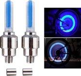 2 x Blauwe Fiets Ventiel verlichting / LED fiets verlichting / Ventiel verlicht Fiets / Licht Flitslampen / Ventiel Lampen fiets /