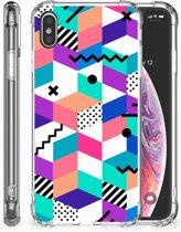 Apple iPhone Xs Max TPU Hoesje Design Blocks Colorful