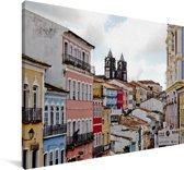 Historisch centrum van Salvador bij Bahia in Brazilië Canvas 90x60 cm - Foto print op Canvas schilderij (Wanddecoratie woonkamer / slaapkamer)