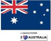 Australische vlag met 2 gratis Australie stickers